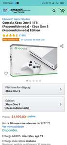 Amazon: Consola Xbox One S 1TB (Reacondicionada) Edition