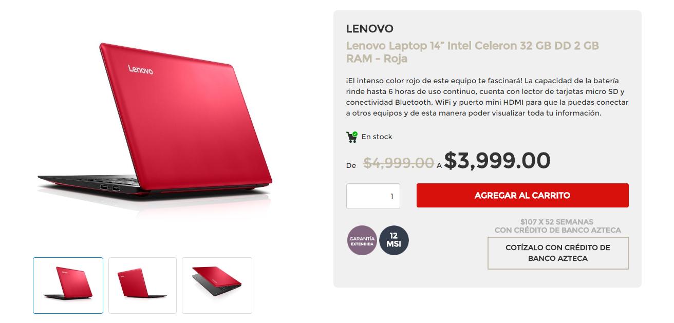 """Elektra en línea: Lenovo Laptop 14"""" Intel Celeron 32Gb DD 2Gb RAM - Roja"""