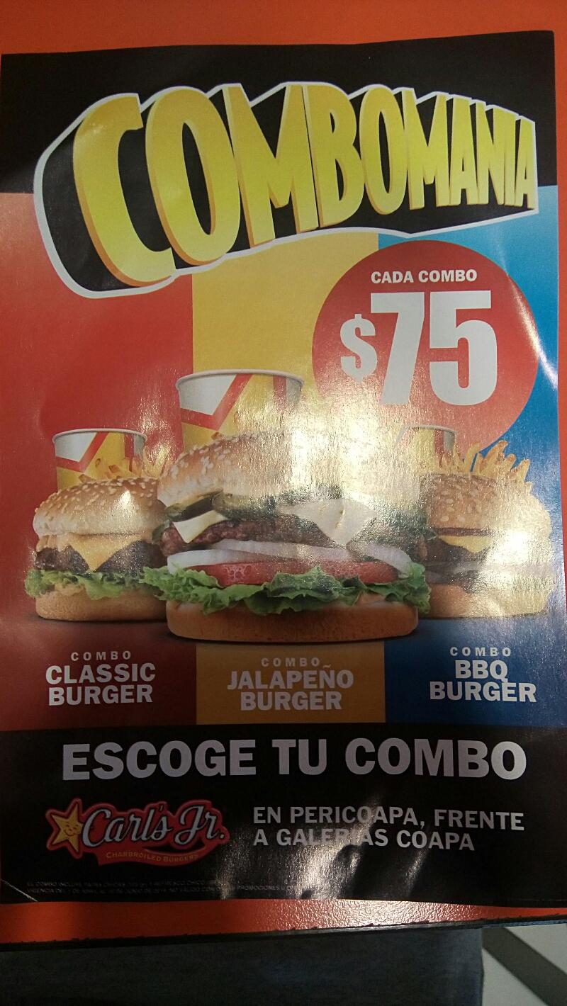 Carl's Jr Pericoapa: combomanía, hamburguesa a elegir, papas y refresco por $75