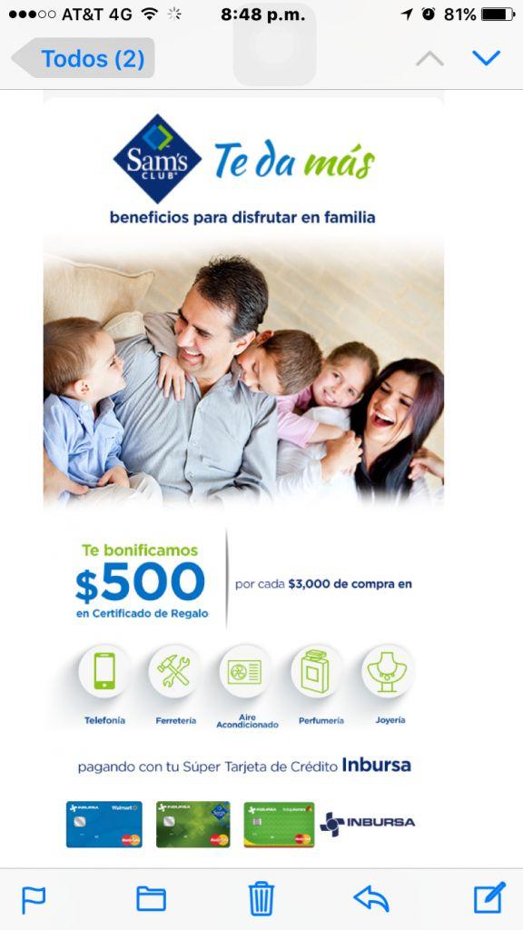 Sam's Club: bonificación de $500 (certificado de regalo) pagando con Inbursa
