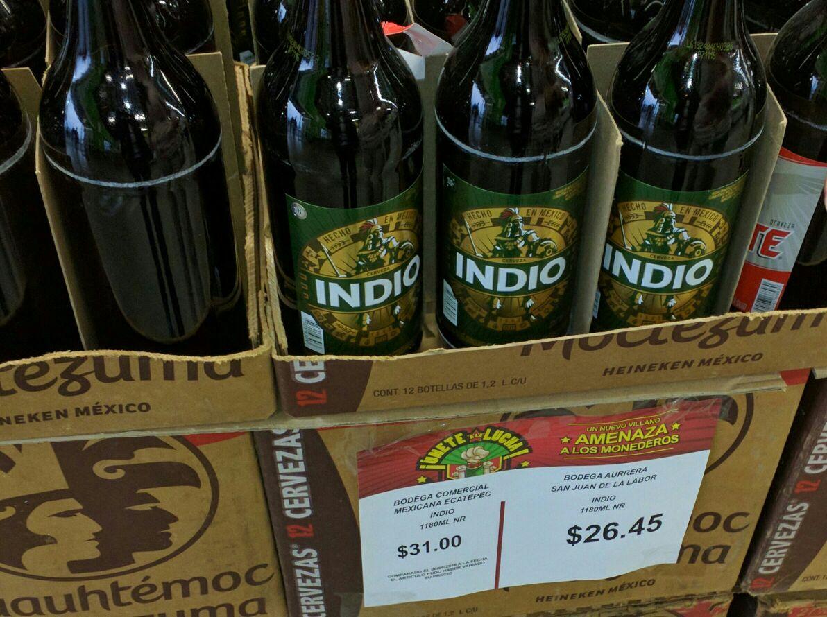 Bodega Aurrerá: Cerveza Indio 1.2 Litros a 26.45, incluye envase