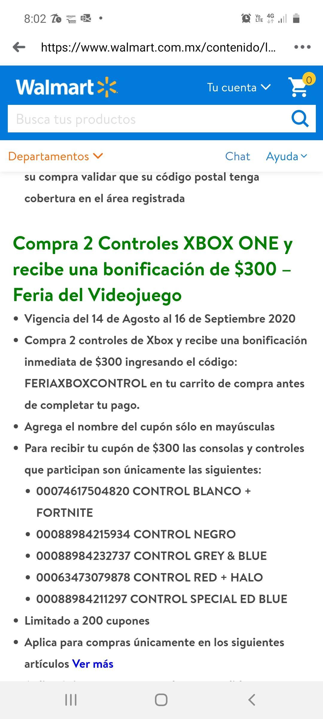 Walmart: $300 de bonificación al comprar 2 controles de Xbox