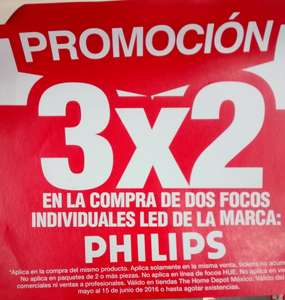 Home Depot: 3x2 en focos LED PHILIPS