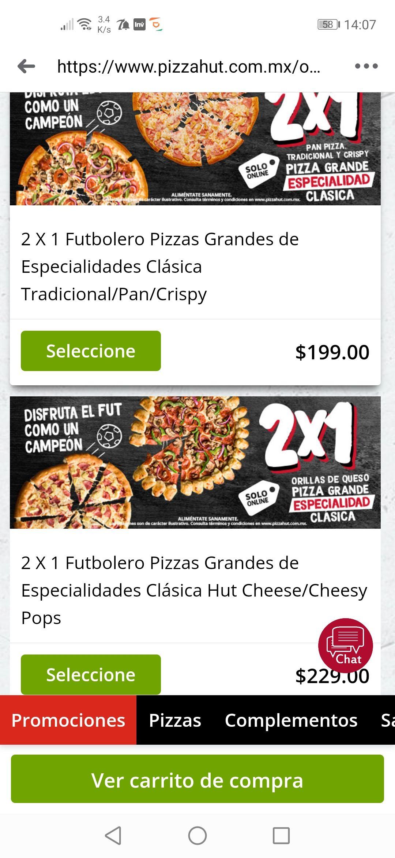 Pizza Hut: 2 pizzas grandes ($99. 5 c/u)