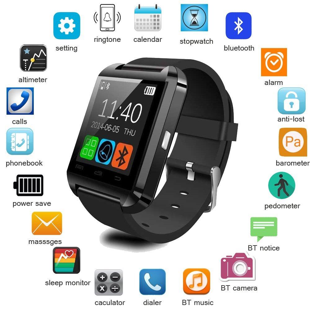 Amazon: Smartwatch U8 bluetooth iPhone Android reloj inteligente