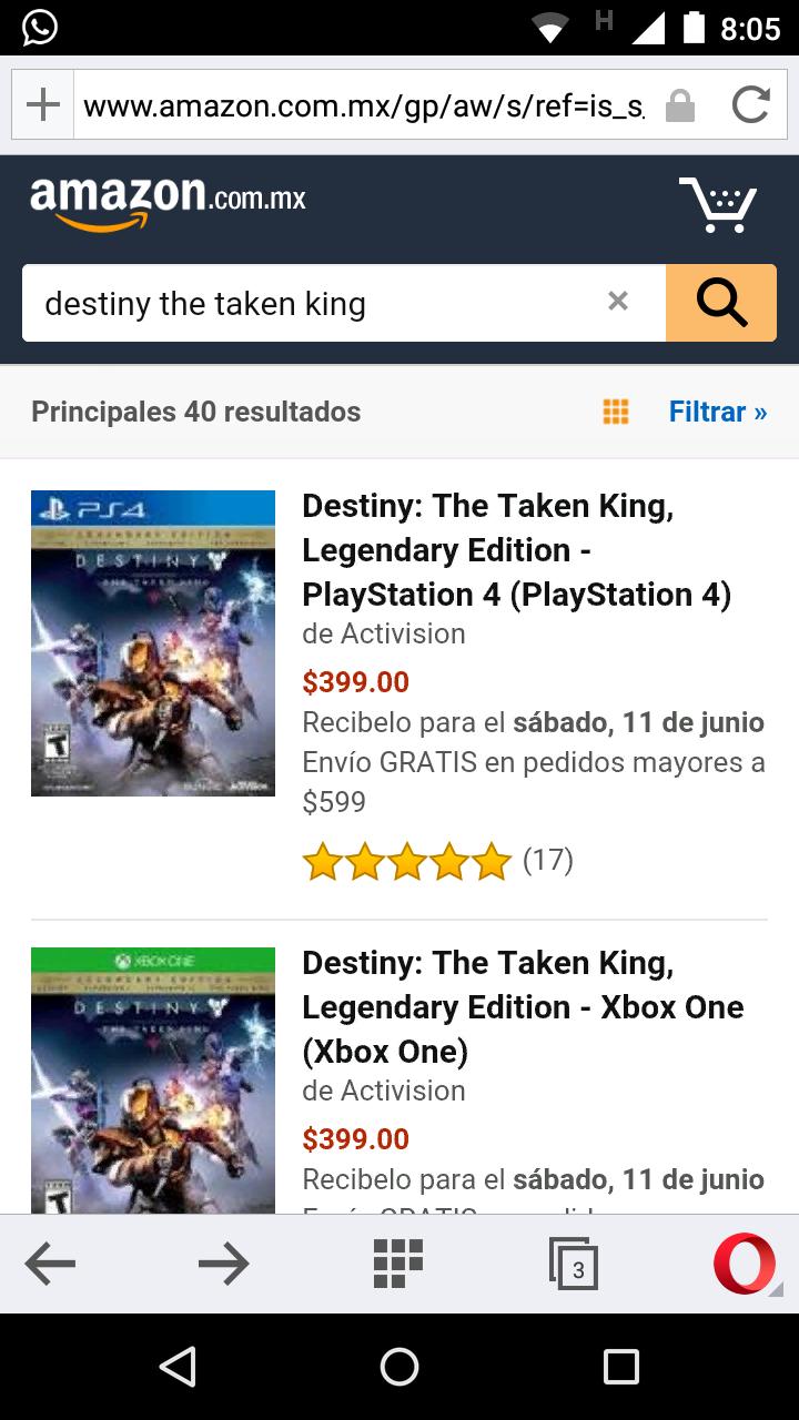Amazon: nuevamente Destiny The Taken King edición legendario One y PS4 sólo $399