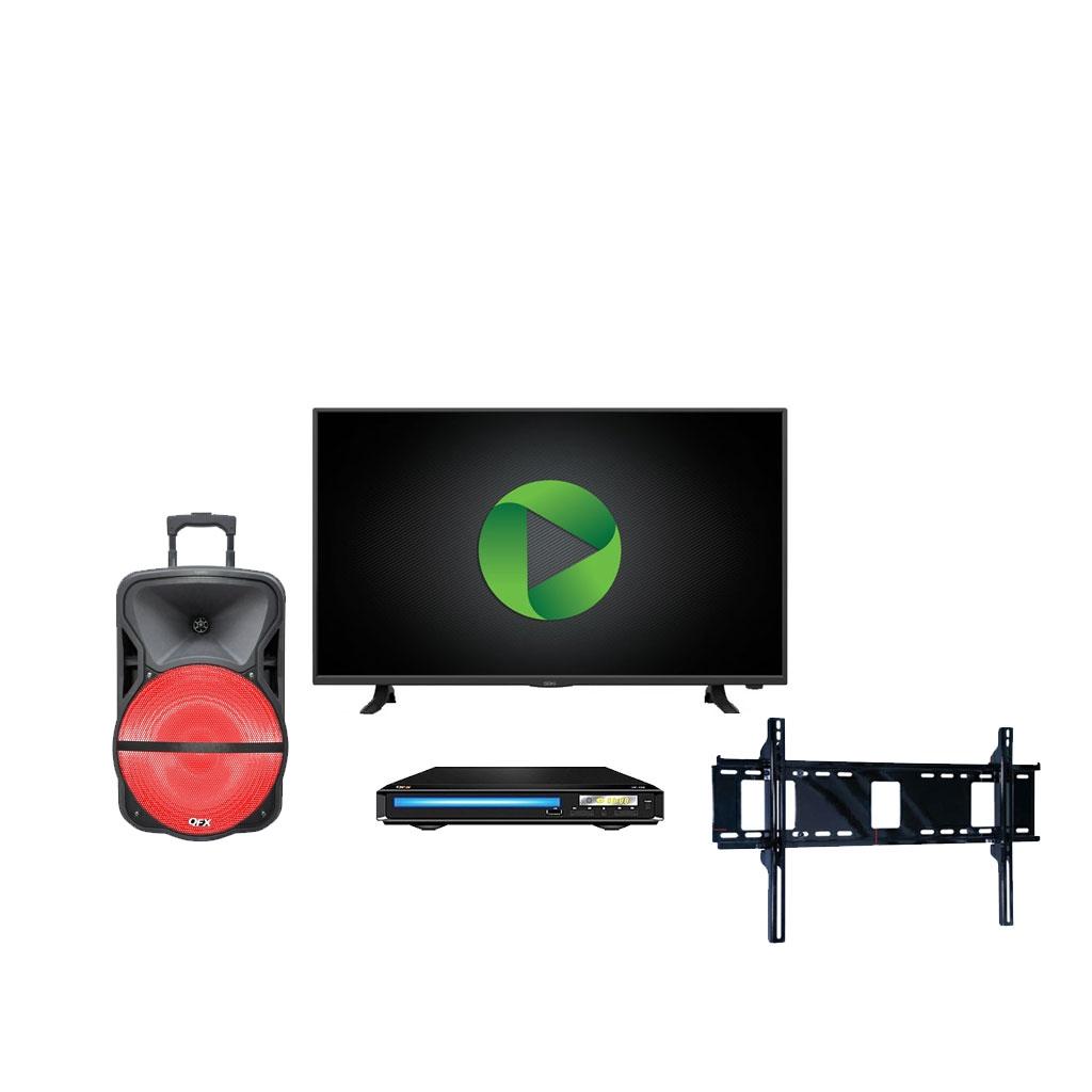 """Famsa en línea: Paquete pantalla 40"""" FHD Smart tv + bocina 12"""" bluetooth + dvd + soporte"""