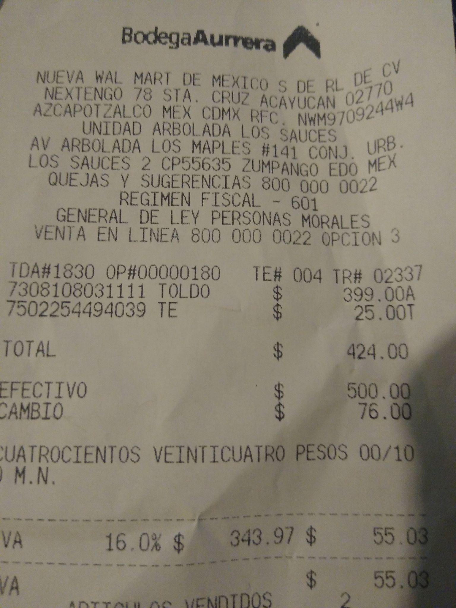 Bodega Aurrerá Sauces Zumpango: Toldo Maimstays 2.4 x 2.4