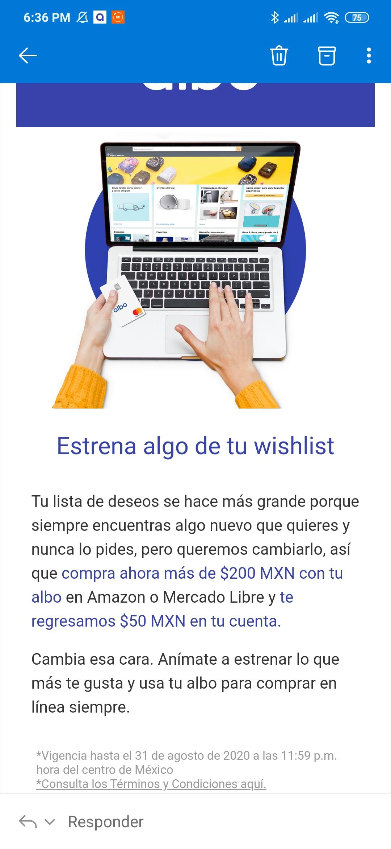 ALBO: REEMBOLSO DE $50 EN COMPRAS DE $200 AMAZON Y MERCADO LIBRE (USUARIOS SELECCIONADOS)