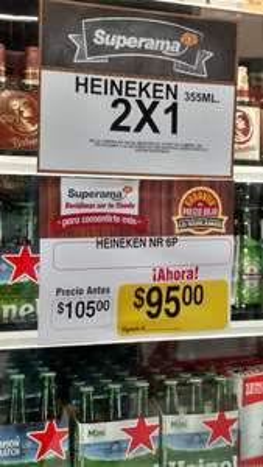 Superama: Heineken 355ml al 2x1, el precio del six es $95.