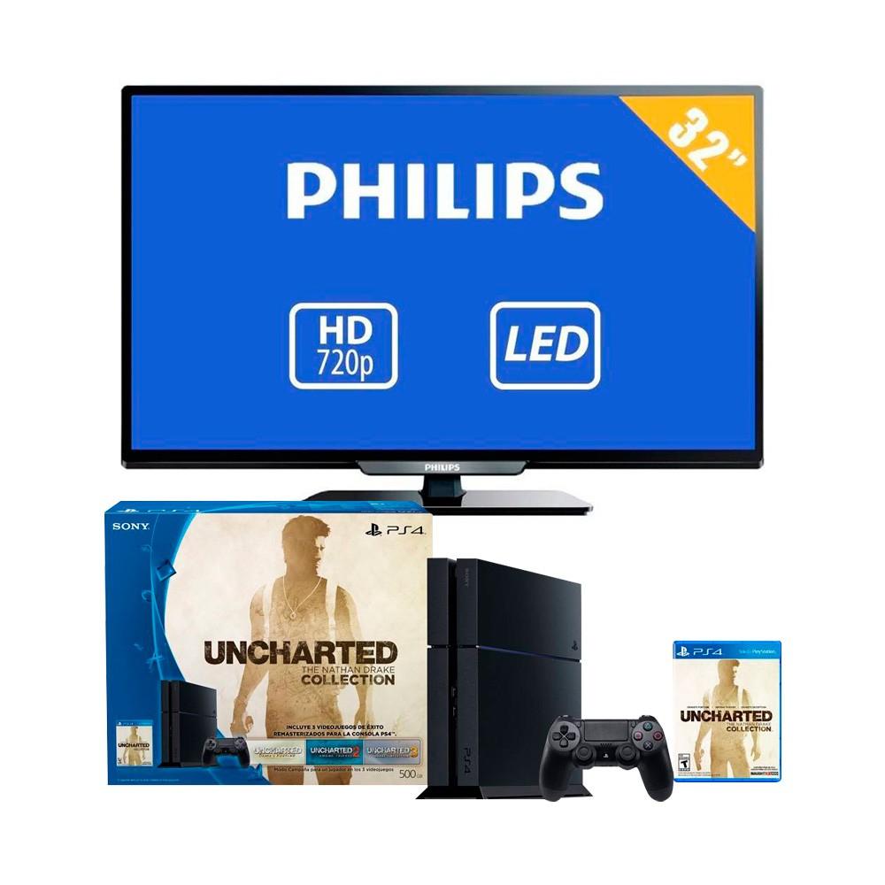 Walmart en línea: PS4 Nathan Drake Collecion con TV Phlilips 32 pulgadas 720p HD LED