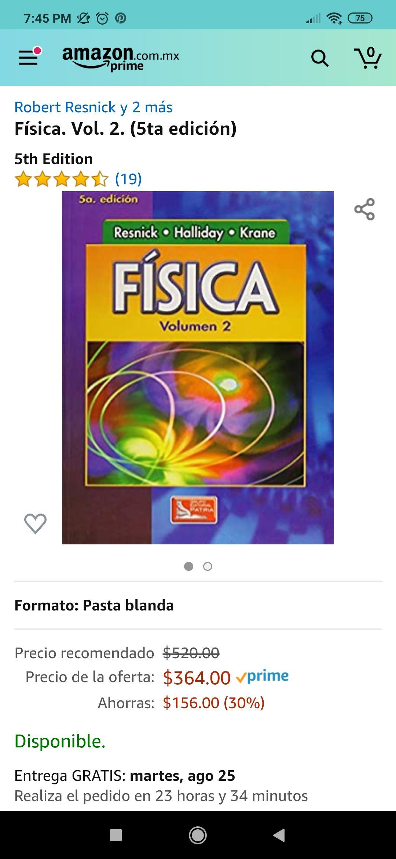 Amazon: Libro física vol 2, Resnick