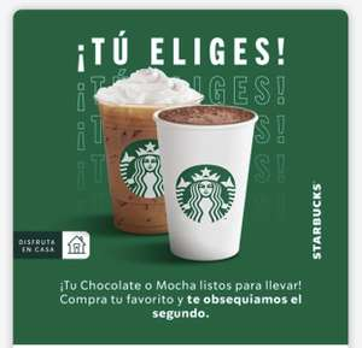 Starbucks: 2x1 Mocha o Chocolate