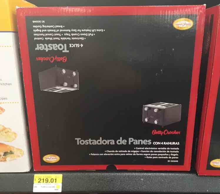 Walmart Suc. Tlalpan (CDMX): tostadora de pan marca Betty Crocker a $219.01