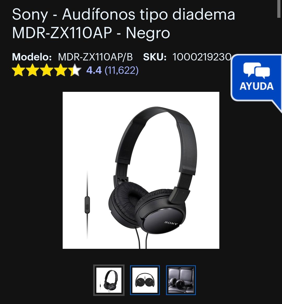 Best Buy: Audífonos Sony MDR-ZX110AP