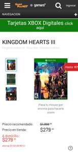 Kingdom hearts 3 para Xbox One en GamePlanet y Gamers