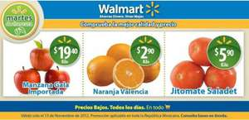 Martes de frescura en Walmart noviembre 13: jitomate $5.90, naranja $2.90 y más