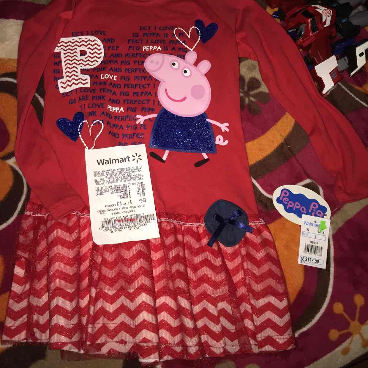 Walmart: patio Santa fe: vestidito Peppa pig a $60