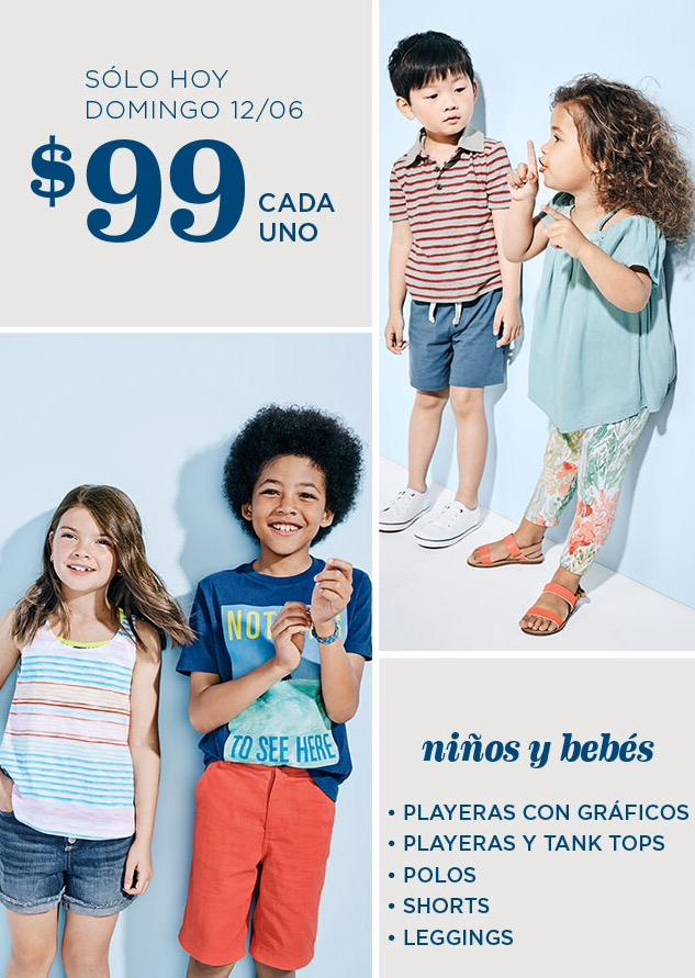 Old Navy: Solo HOY ropa de niños y bebés a $99 (Domingo 12 de junio)