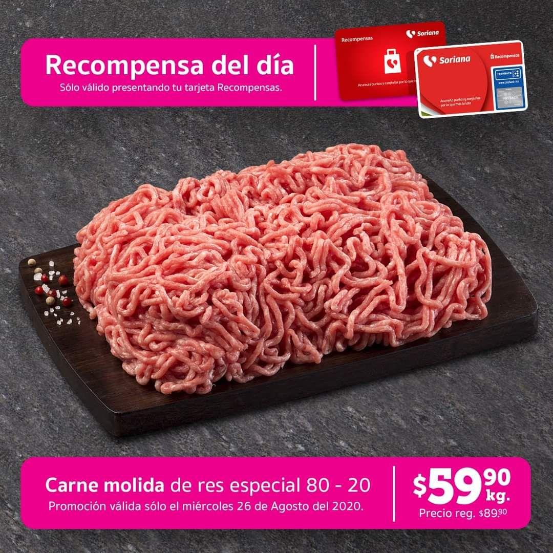 Soriana Híper y Súper: Recompensa Miércoles 26 Agosto: Carne Molida de Res Especial 80/20 $59.90
