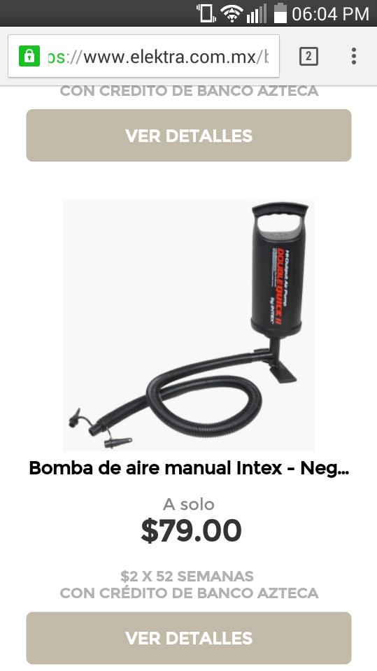 Elektra en línea: bomba de aire manual a $79