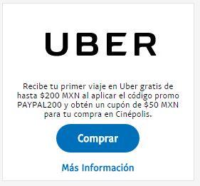 Uber: cupón $200 pesos nuevos usuarios+ cupón de $50 pesos para Cinépolis