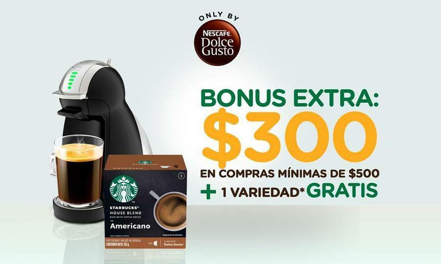 Peixe:Paga $59 por gift card de $300 para compra en Nescafé® Dolce Gusto® + 1 Starbucks® Dark de 12 cápsulas