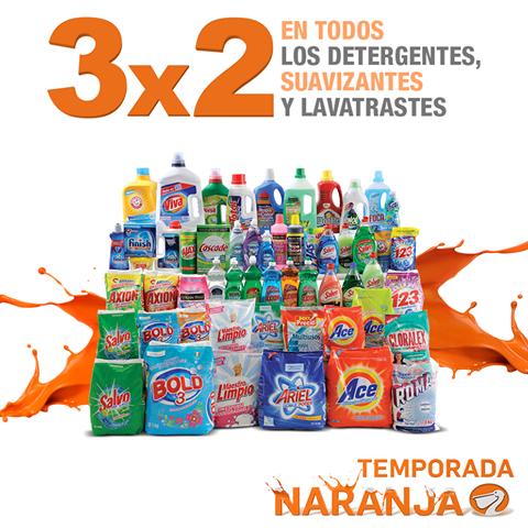 Temporada Naranja (antes Julio Regalado) en La Comer: 3x2 en detergentes, suavizantes y lavatrastes