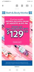 Bath & Body Works: Mists a $129 pesos