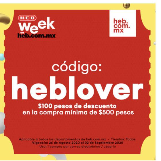 HEB: cupón $100 de descuento en compra mínima de $500