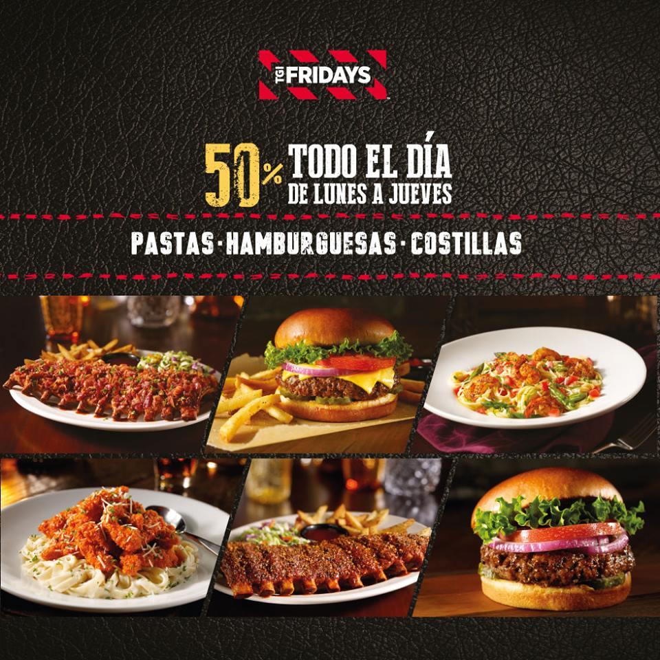 TGI Friday's: 50% de descuento en costillas, hamburguesas, pastas de lunes a jueves