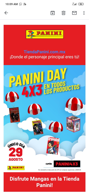 Panini ¡4 x 3 en todos productos de la Tienda Panini! ¡Aproveche!