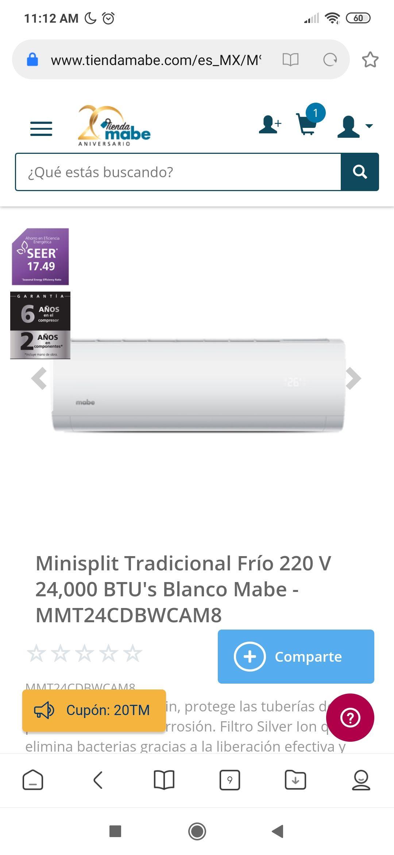 Mabe: Minisplit Tradicional Frío 220 V 24,000 BTU's Blanco Mabe - MMT24CDBWCAM8Cant