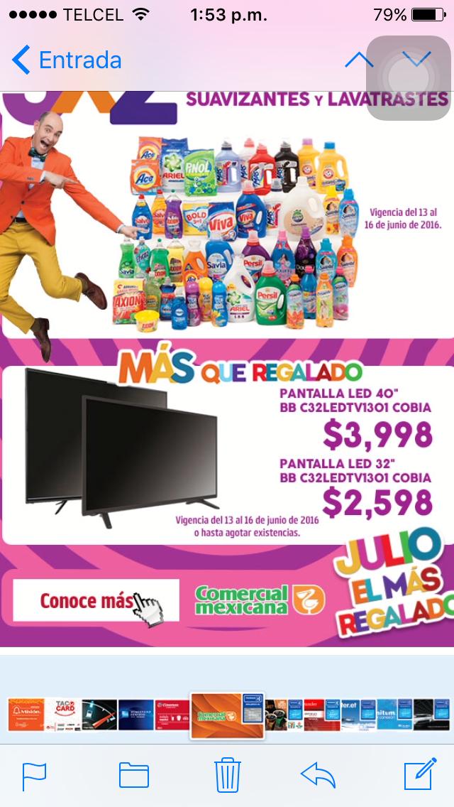 "Comercial Mexicana: Julio Regalado TV Cobia 32"" a $2,598"