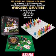 Sears: Juego de ajedrez gratis en la compra de $2000 o mas en  el departamento de perfumería y cosméticos