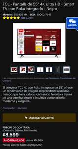 "Best Buy: TCL - Pantalla de 55"" 4K Ultra HD - Smart TV con Roku integrado - Negro Modelo:55S425-MX (CON TC BANORTE DIGITAL)"
