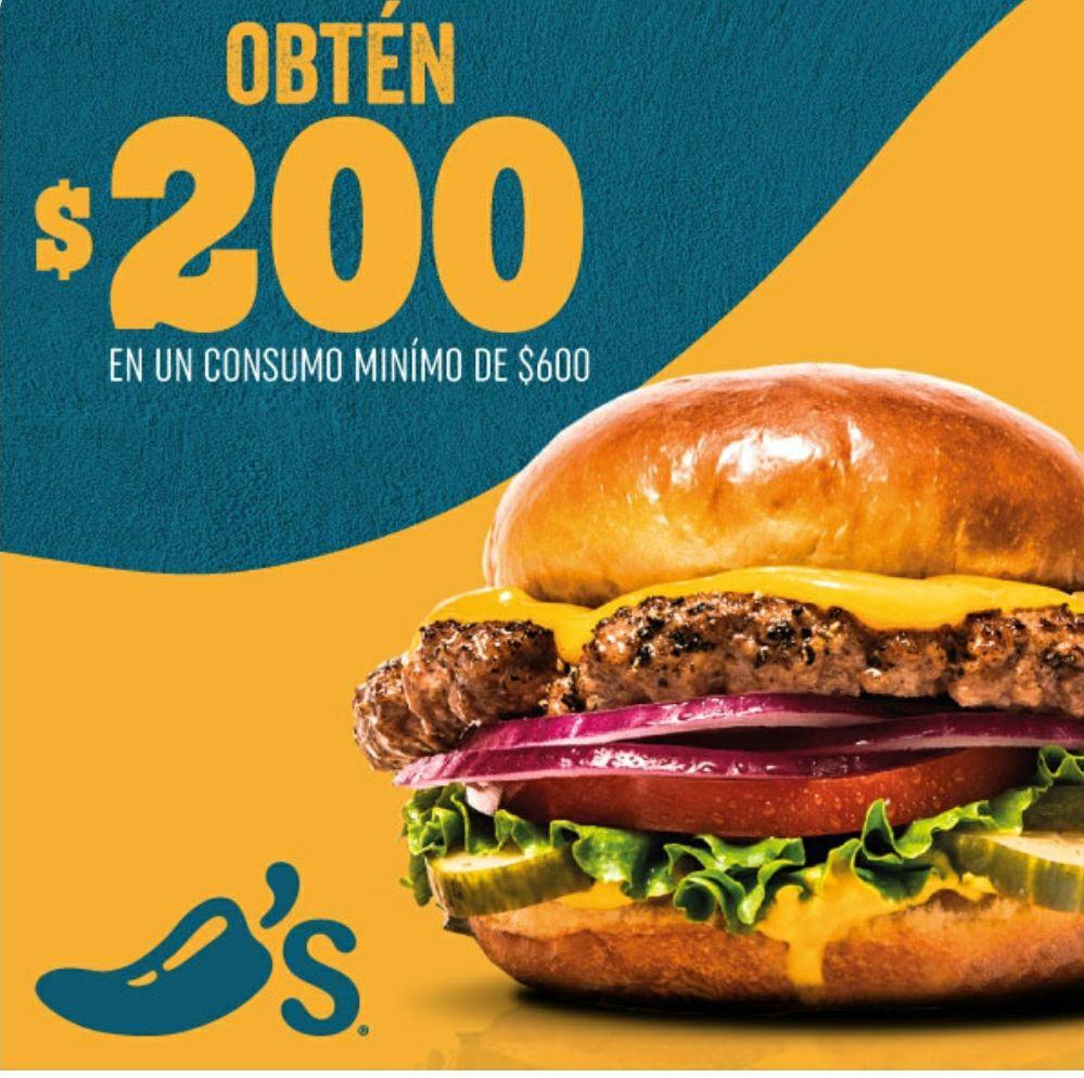 CHILIS $200 DE DESCUENTO EN CONSUMO DE $600