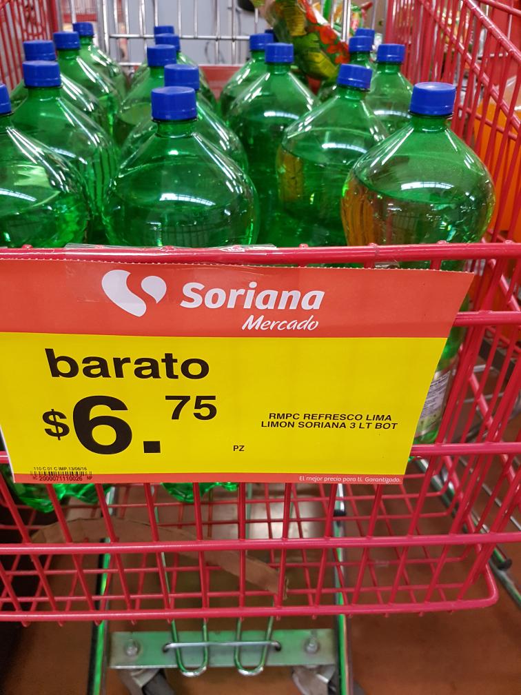 Soriana Los Heroes Tecamac: Refrescos de 3L marca independiente a $6.75
