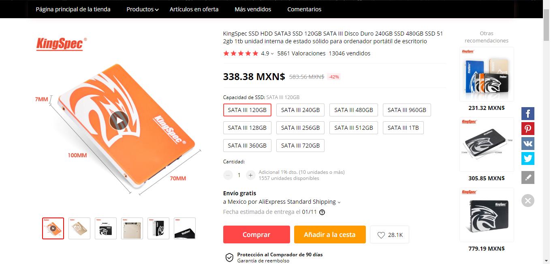Aliexpress: SSD 120GB en $338