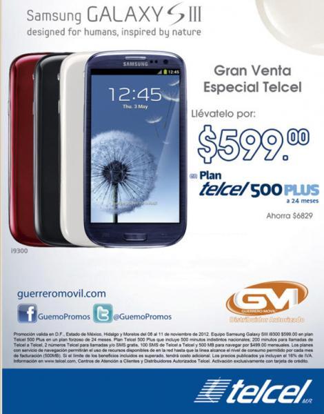 Samsung Galaxy SIII a $599 en plan Telcel 500 Plus a 24 meses