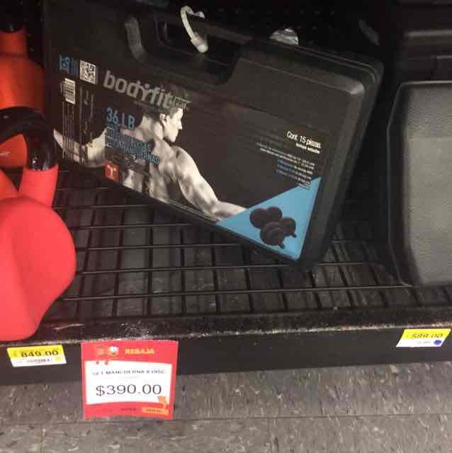 Walmart Periplaza: set de mancuernas 36 lb a $390