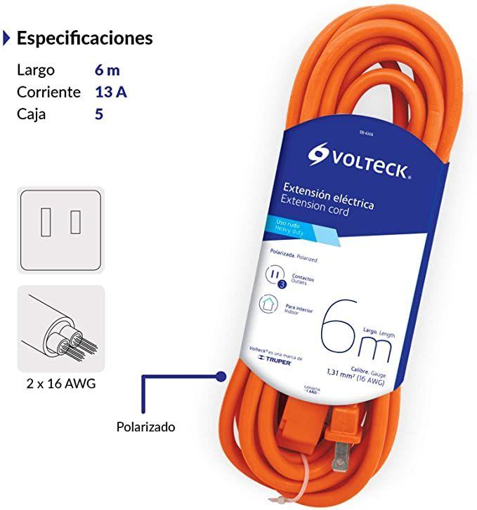 Amazon: Extensión eléctrica uso rudo Volteck 6 m