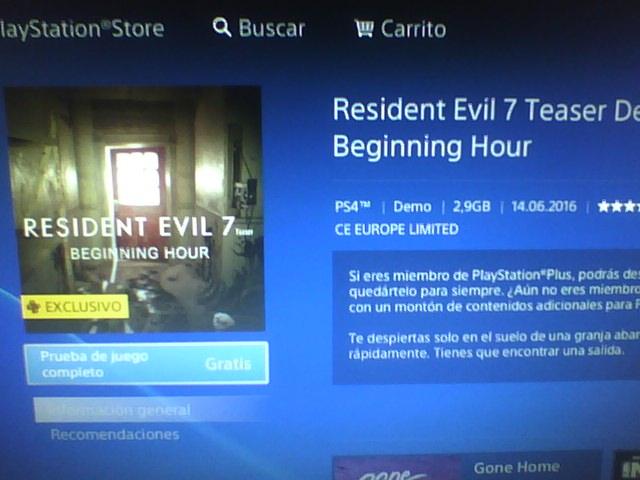 Resident Evil 7 Demo Exclusiva para PS Plus