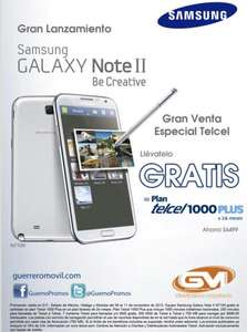 Galaxy Note II gratis en plan Telcel Plus 1000 a 24 meses (R9)