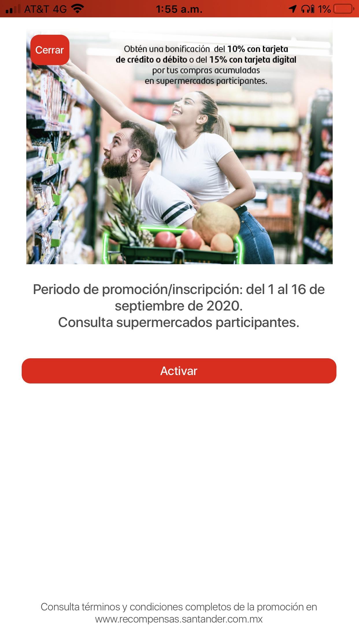 Santander: 10% o 15% de Bonificación por compra en supermercados seleccionados