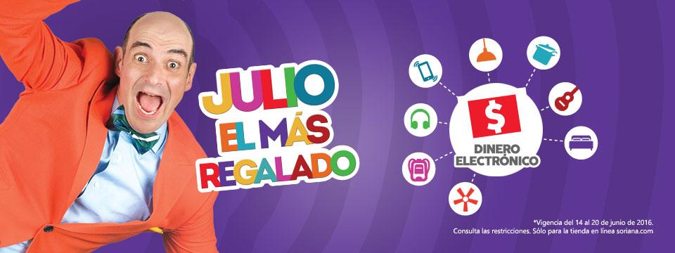Promoción de Julio Regalado 2016 en Soriana.com: hasta 30% de bonificación en dinero electronico