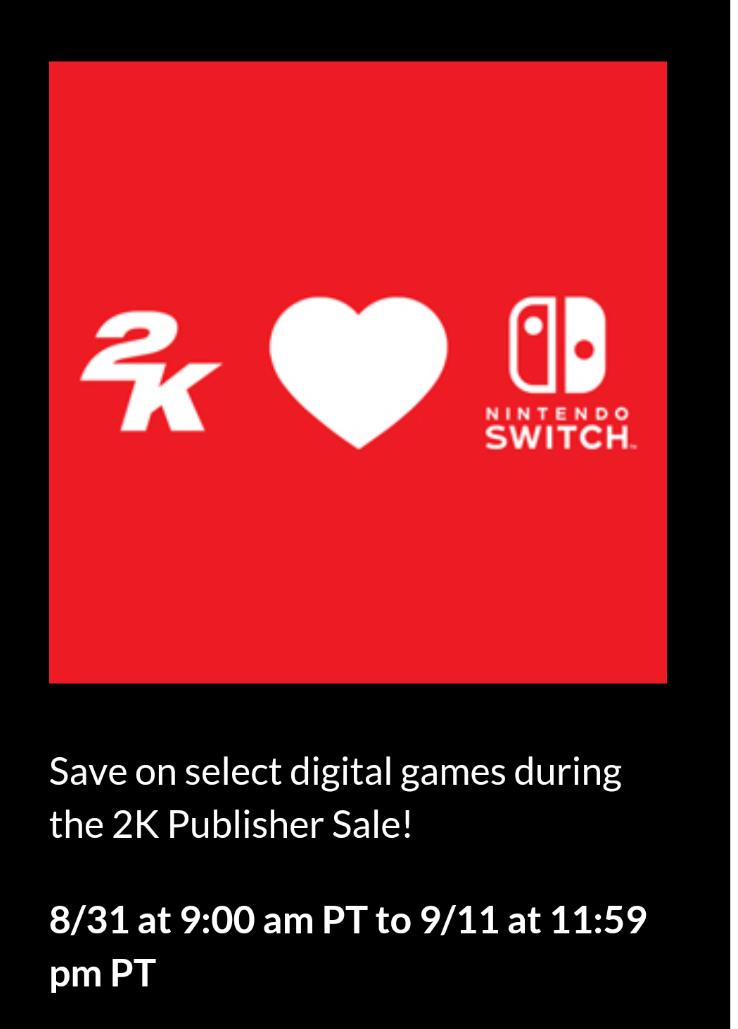 Venta digital de 2K para la Eshop de Nintendo Switch