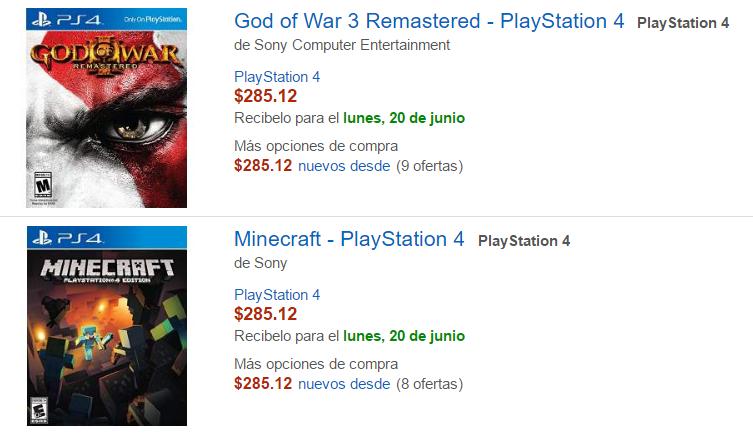 Amazon: God of War 3 y Minecraft para PS4 a $285 c/u