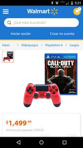 Walmart en línea: control para Playstation 4 rojo y Call of Duty Black Ops 3 a $1,499