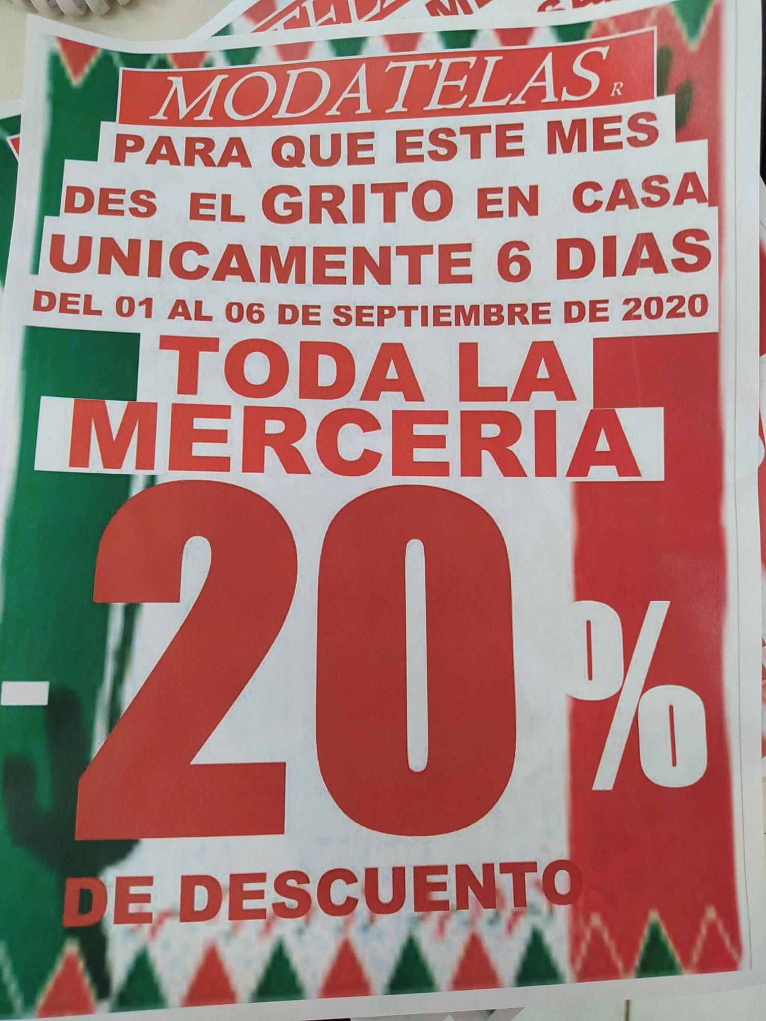 MODATELAS: -20% de descuento en toda la mercería